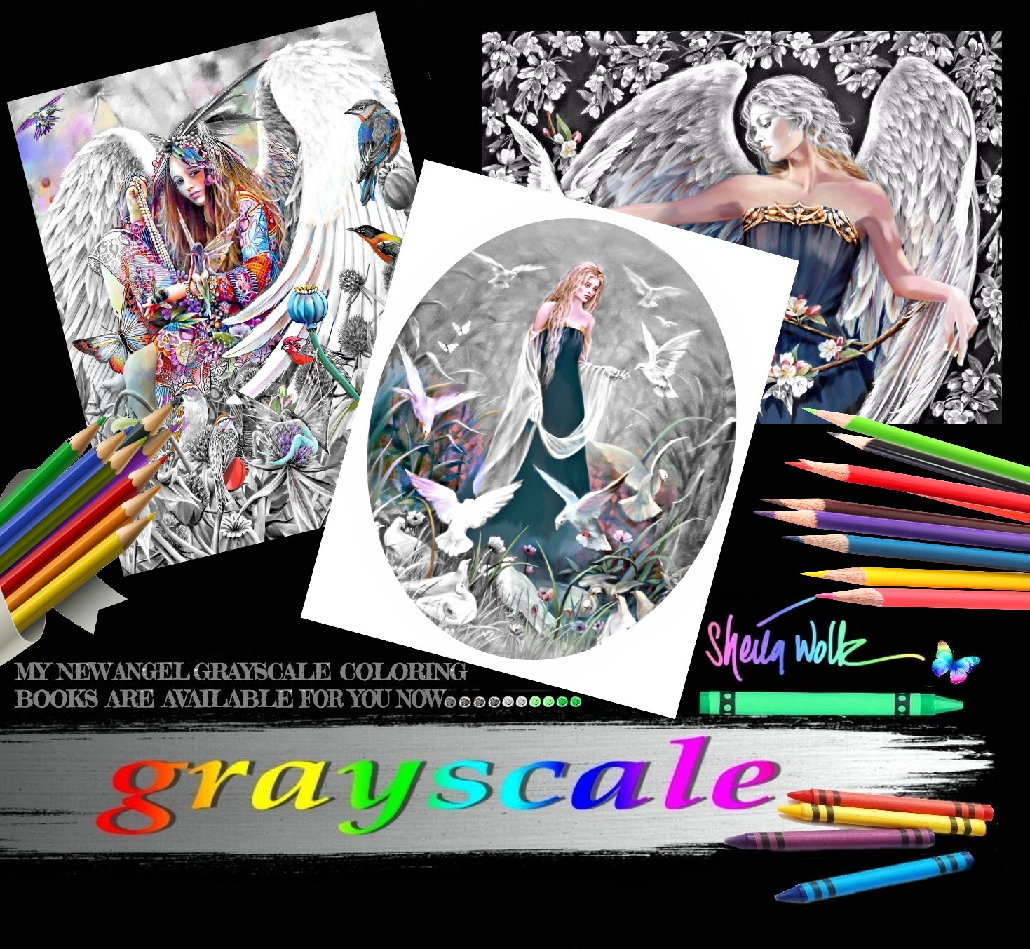 Sheila Wolk Gray Scale Angel Adult Coloring Book